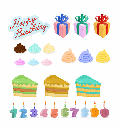 Happy birthday set. Cake, candles, figures. Vector illustration Vector