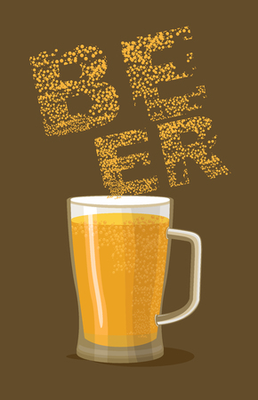 Beer Mug a dark background. Vector illustration Vector