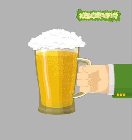 st patrick day: St. Patrick day poster beer Illustration