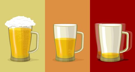 drunk cartoon: Mug of beer. Stages of alcohol intoxication Illustration
