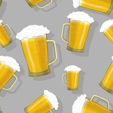 seamless pattern of glass tankards of frothy beer Vector