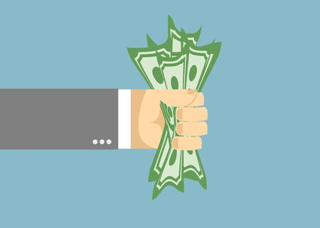 Dollar trapped in a fist. Businessman hand Vector