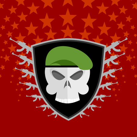 military beret: military emblem. Skull in beret with weapons.