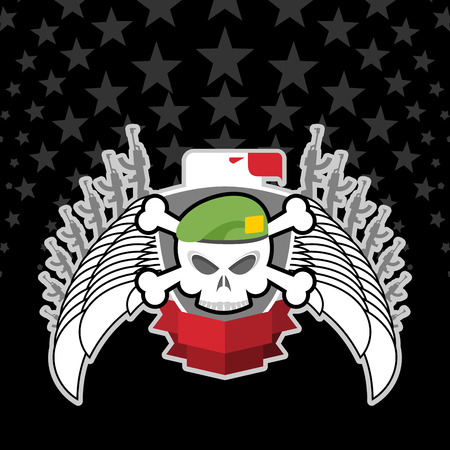 war emblem. Skull in beret with the Eagle.