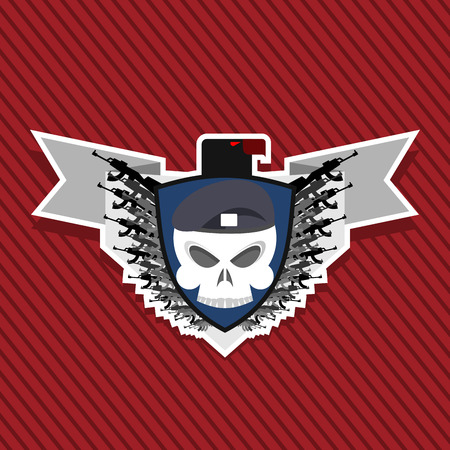military emblem. Skull in beret with weapons.
