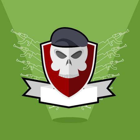 Army emblem. Skull on shield Vector