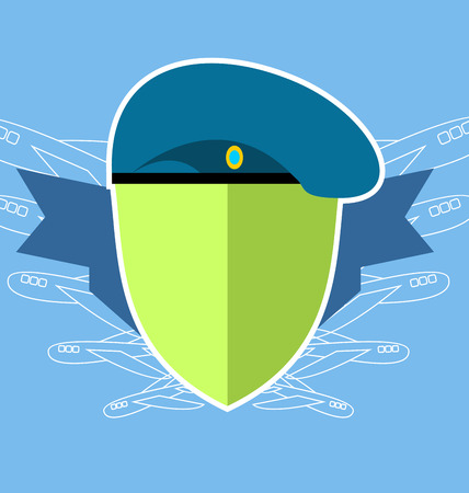 military shield: emblem military. Shield with the aircraft. Blue beret Illustration