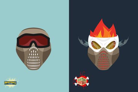 mortal: paintball helmet and mask. scary skull with smoke. Mortal paintball Illustration