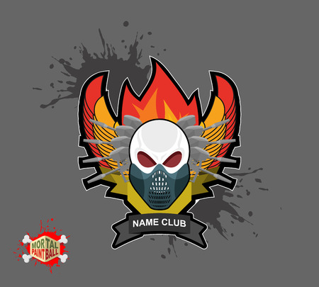 flame wings: skull in paintball  mask, paintball guns. Wings, arms and flame. Emblem  paintball club Illustration
