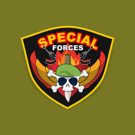 Military Emblem with a skull and the weapon. Vector