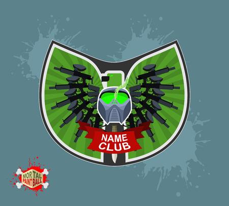 sterbliche: Paintball-Logo. Schild mit Fl�geln. Emblem Mortal paintbal