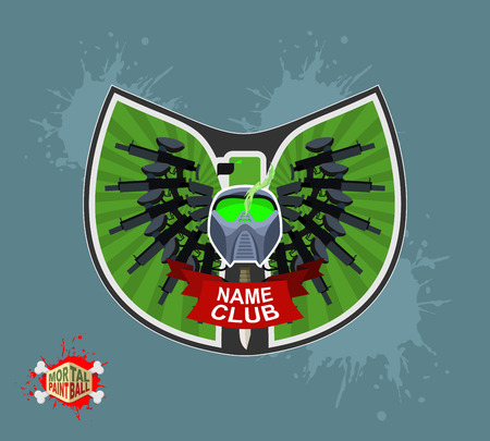 mortal: Paintball logo. shield with wings. Emblem  Mortal paintbal