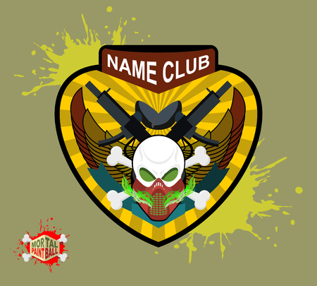 Paintball team and emblem. scary skull  in paintball  mask and gun. Mortal paintball