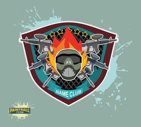paintball: paintball logo.  paintball guns. Evil paintball mask