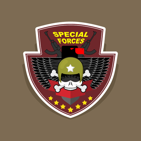 military beret: Military Emblem with a skull and the weapon. Wings on shield. war logo special force. Illustration