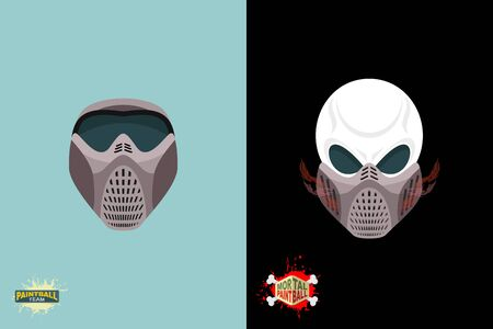 paintball helmet and mask. scary skull with smoke. Mortal paintball Vector