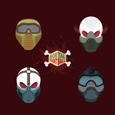 set paintball evil  mask. skull Mortal paintball Vector