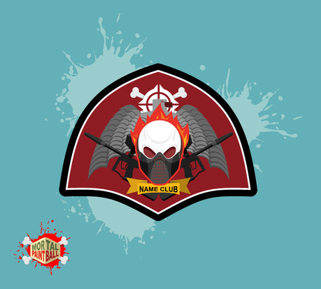 mortal: skul protection mask. Heraldic Shield with wings and arms. Emblem mortal paintball