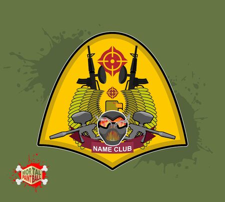 shield with wings. Emblem  Mortal paintbal Vector