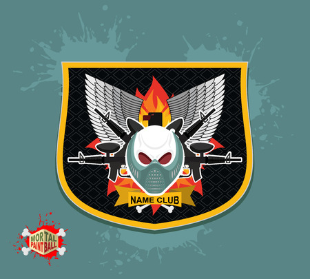 paintball: skull in paintball  mask, paintball guns. Wings, arms and flame. Emblem  paintball club Illustration