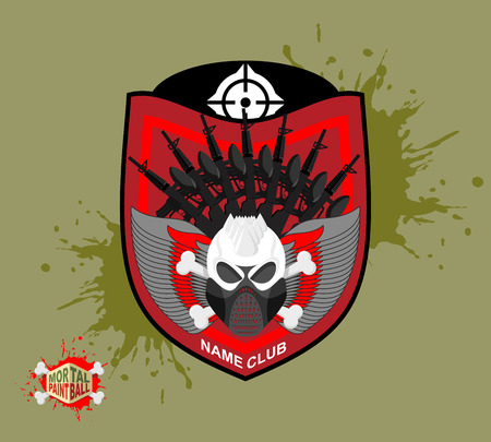 Paintball . skul protection mask. Heraldic Shield with wings and arms. Emblem mortal paintball
