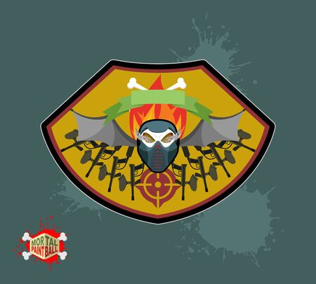 skull mask: paintball emblem club. Wings of fire and paintball guns. skull mask
