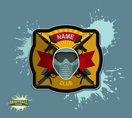 paintball: paintball emblem. paintball guns and Wings. Mortal Heraldry.