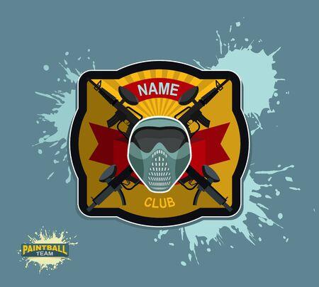 sterbliche: Paintball-Emblem. Paintballgewehren und Fl�gel. Mortal Heraldik.