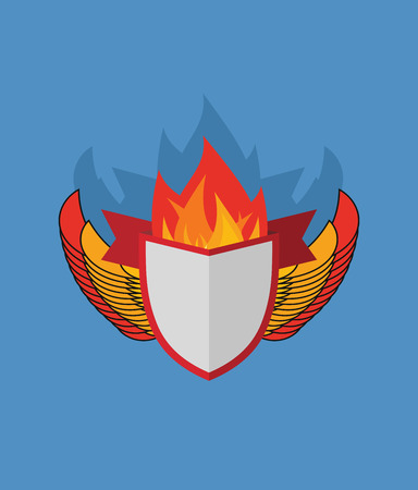 flame wings: Shield with wings. flame and Ribbon. Heraldry