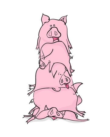 crowded space: bunch pigs. Animals lie on top of each other. Happy Farm pigs.Animals in cartoon style. many pigs