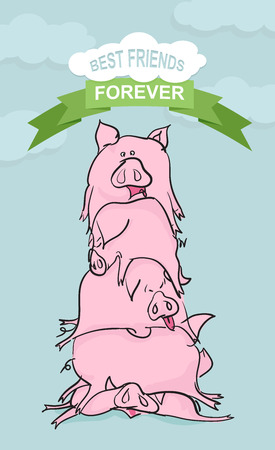 piglets: Best friends forever. Funny Pig. Farm animals on blue background
