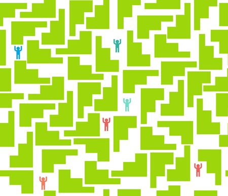 astray: seamless pattern Maze for people Illustration