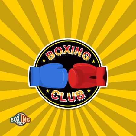 boxing ring: Boxing labels. Boxing gloves emblem Club Illustration