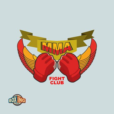 mixed martial arts: MMA emblema. Mixta logo Artes Marciales.