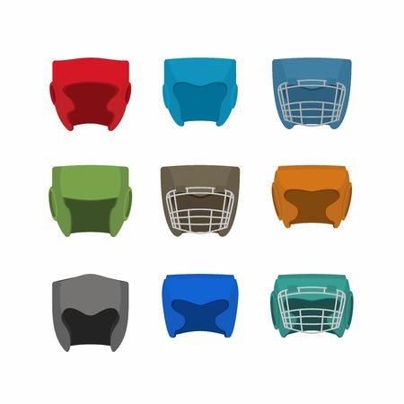 pugilism: Boxing helmet set. Vector illustration Illustration