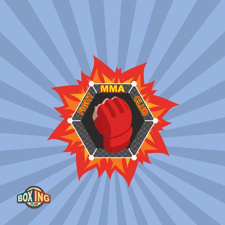 artes marciales mixtas: MMA emblema. Mixta logo Artes Marciales.