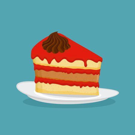 piece of cake: Pedazo de pastel, ilustración vectorial. Icono Vectores