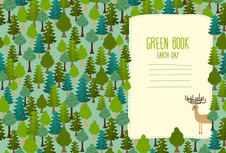 green book: Earth Day. Cover art for book. template Green Book. Deer