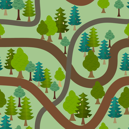 Seamless forest pattern. Cartoon trails and trees background Vector