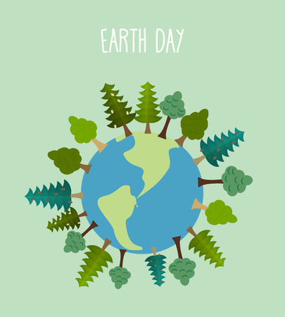 flat earth: earth day. Earth with trees.   Vector geometric trees and grass silhouettes