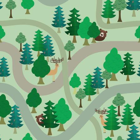 Forest vector seamless pattern. Bear and deer among trees. trails and trees Vector