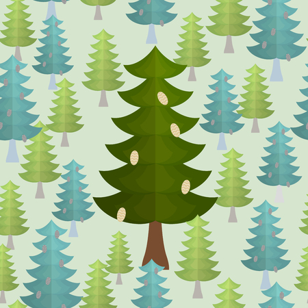 conifers: Christmas trees seamless pattern. Conifers background
