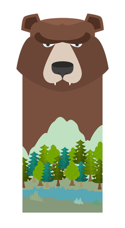 reserve: bear. Head grizzly bear. Template for reserve and Forest Park. Landscape: mountain, River, forest, sky