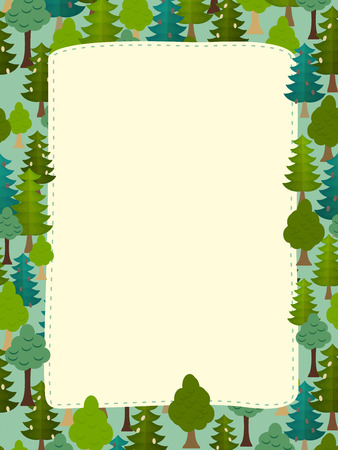 conifers: conifers pattern. Background of trees. Earth day Template with space for text