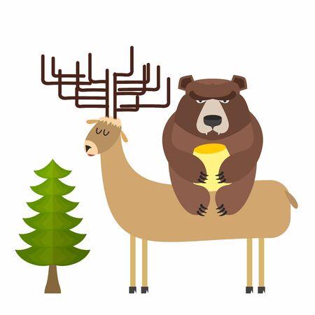 kodiak: Deer and bear. Vector illustration