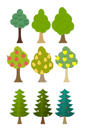 conifers: set Tree icon fruit trees, conifers, forest trees. Vector illustration
