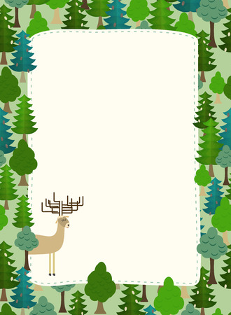 conifers: conifers pattern. Background of trees and deer. Earth day. Template with space for text