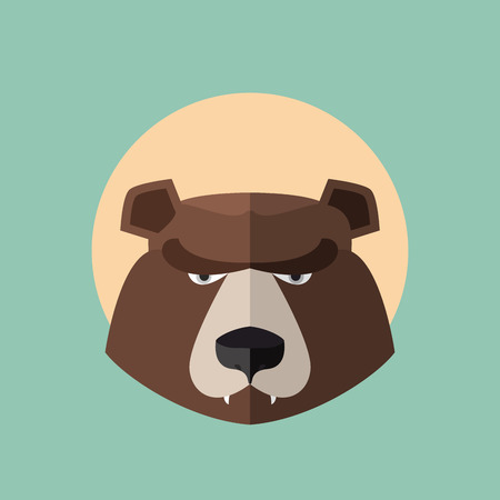 grizzly: Grizzly Bear Head graphique. Logo vecteur