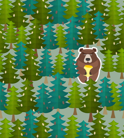 hide and seek: Bear forest seamless pattern. Vector illustration Illustration