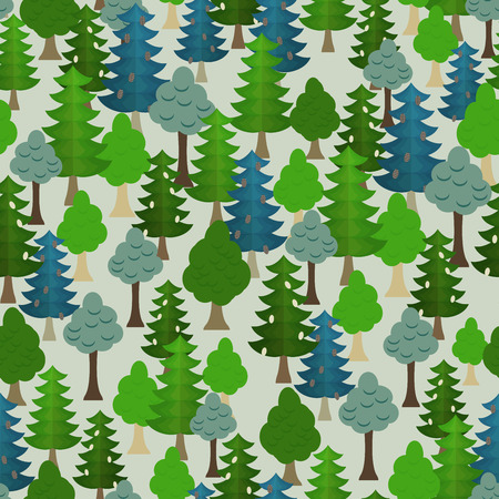 Seamless forest pattern. Cartoon tree. Vector